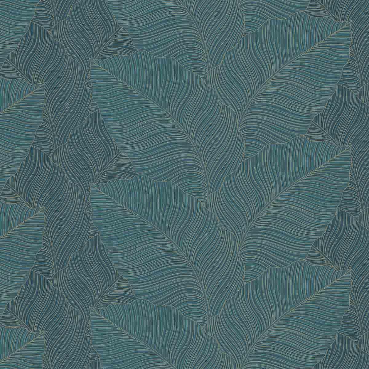 Papier Peint Palme Bleu Vert Dore Tulla Intisse