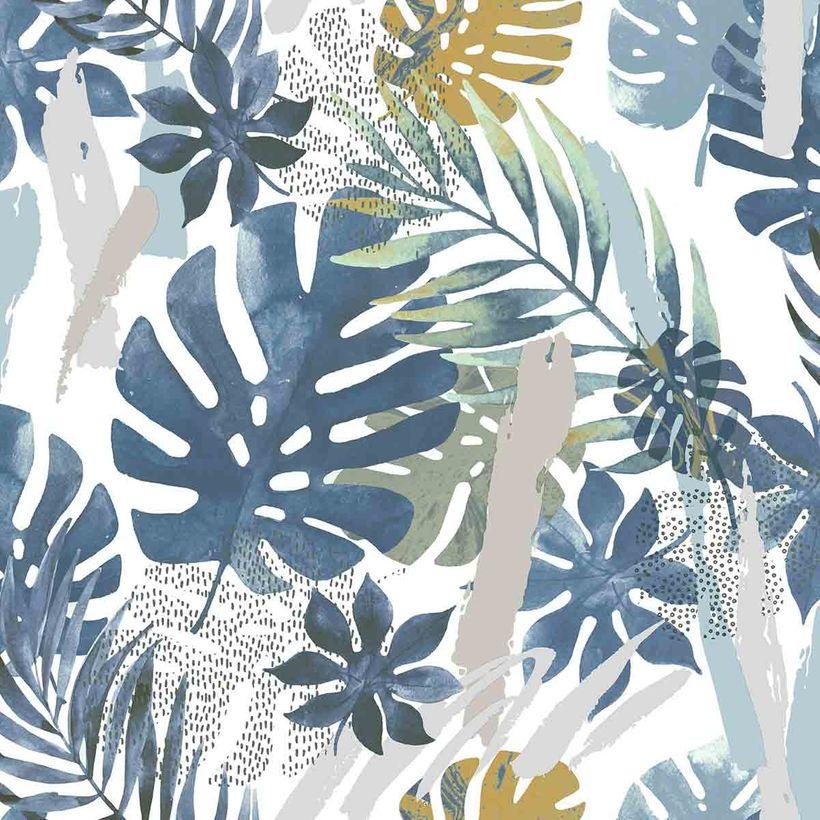 Papier peint vinyl intissé tropical bleu fond blanc Nairn