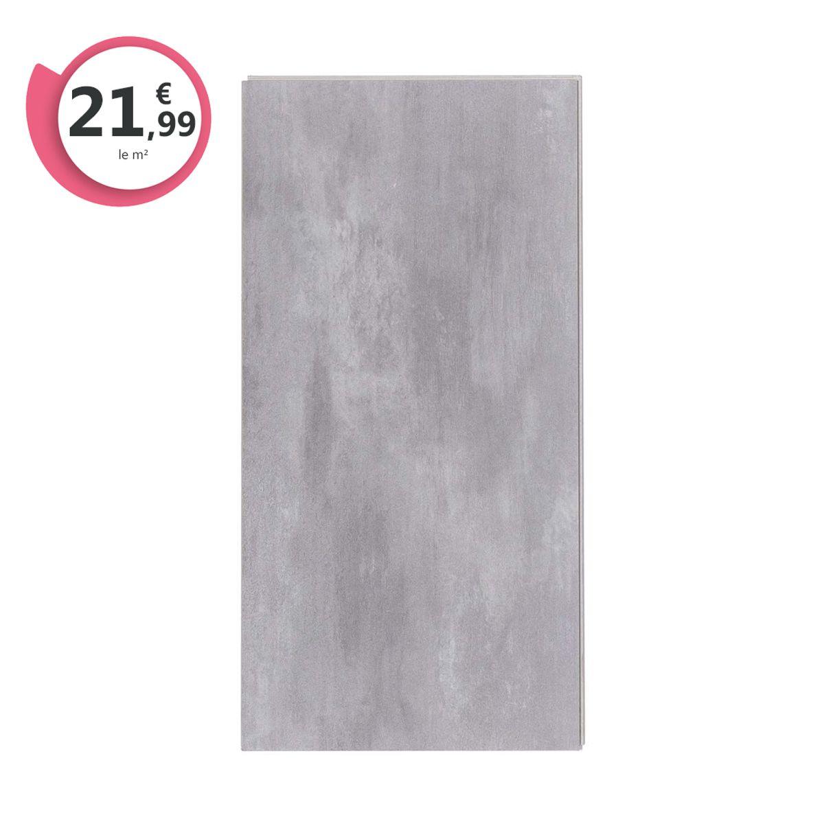 Dalle PVC clipsable béton souris 5,5mm Novaria