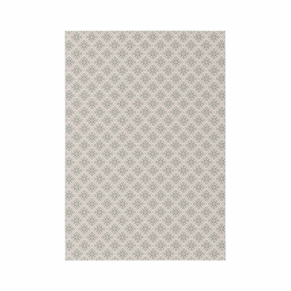 Tapis carreaux ciment rose et beige Ethnic 80x150 cm