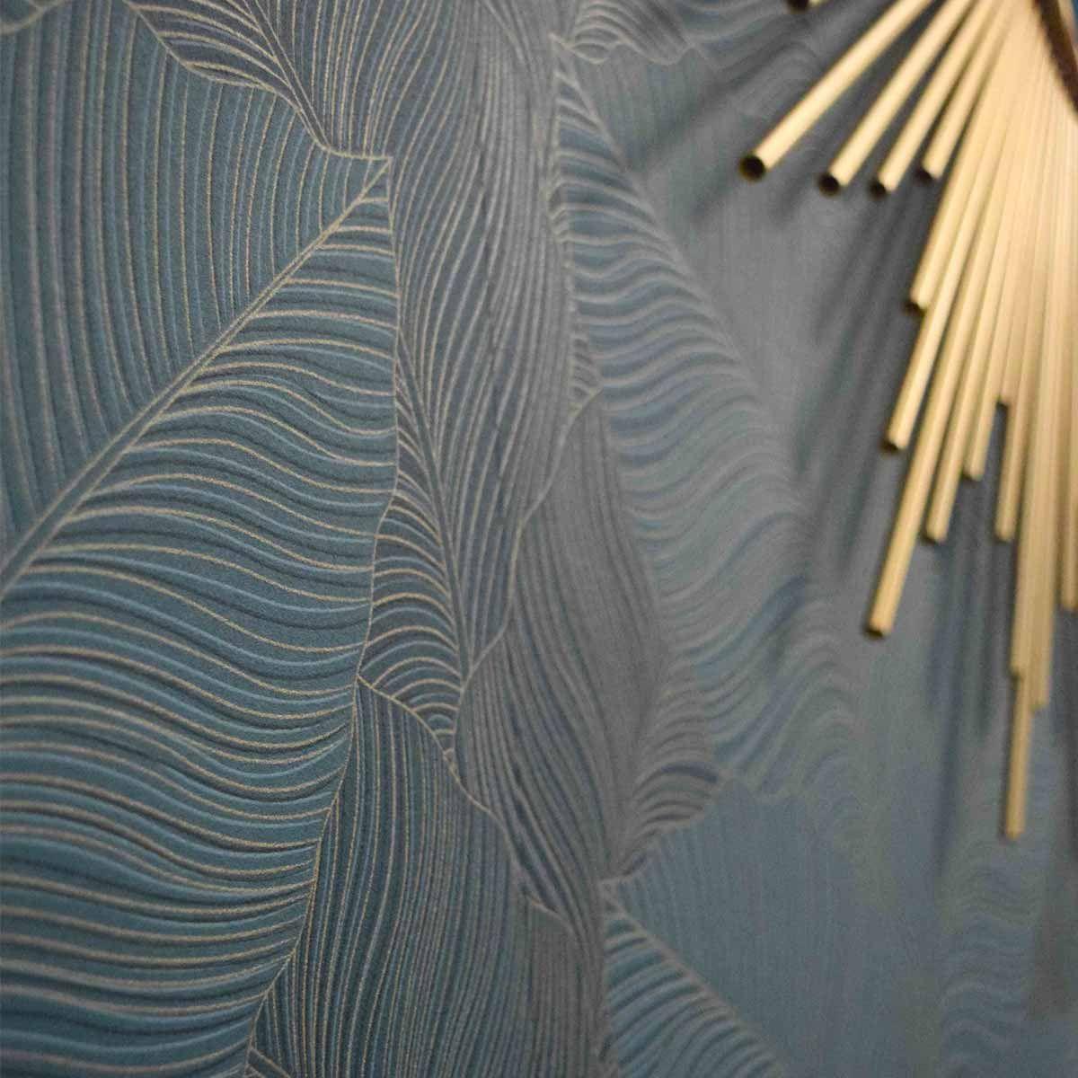 Papier peint vinyl intissé palme bleu vert doré Tulla