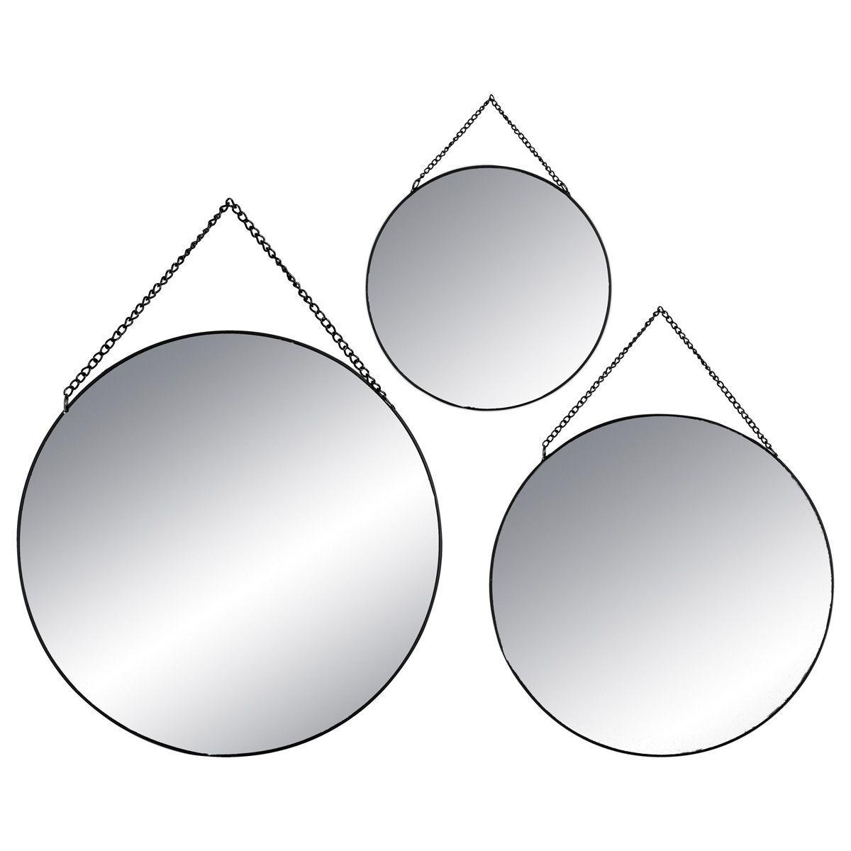 Lot 3 miroirs ronds métal noir
