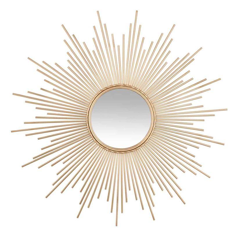 Miroir soleil métal doré