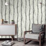 Papier peint vinyl intissé arbre gris titane Syreford