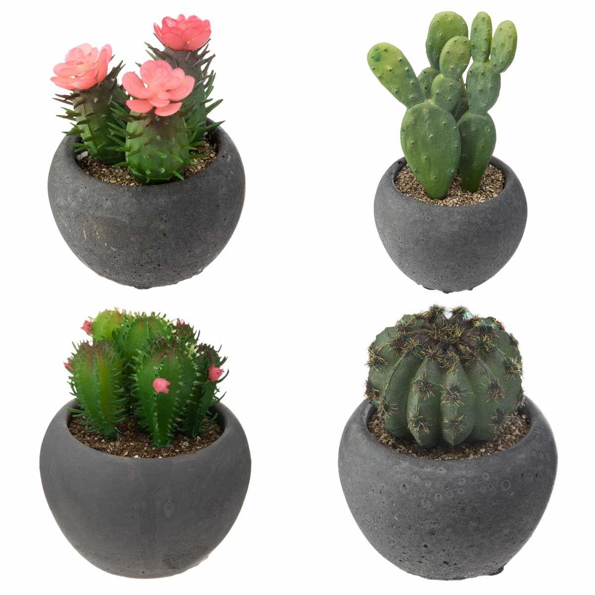 Cactus artificiel pot en ciment