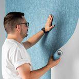 Papier peint vinyl intissé métallisé bleu pétrole Losit