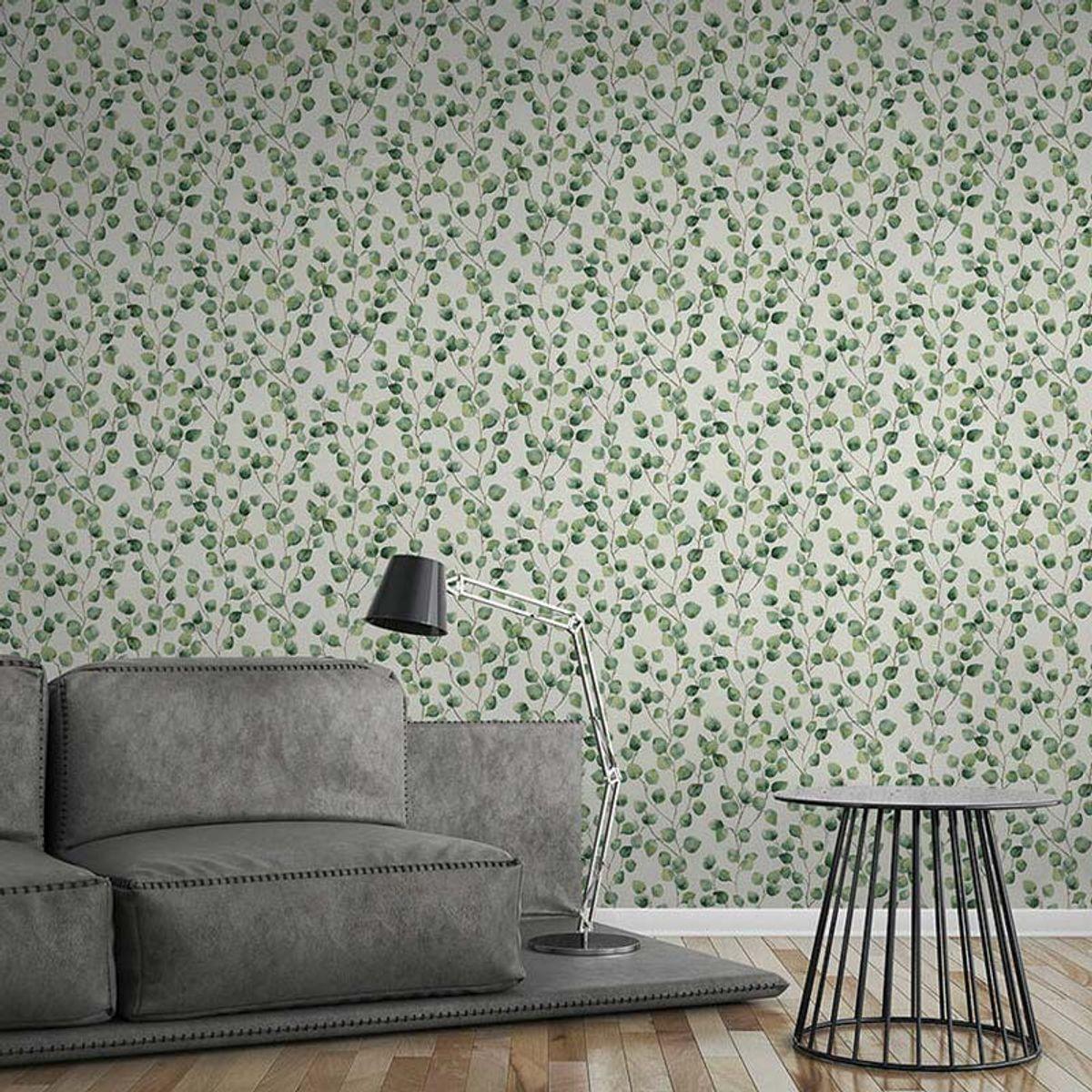 Papier peint vinyl intissé floral vert émeraude Worthing