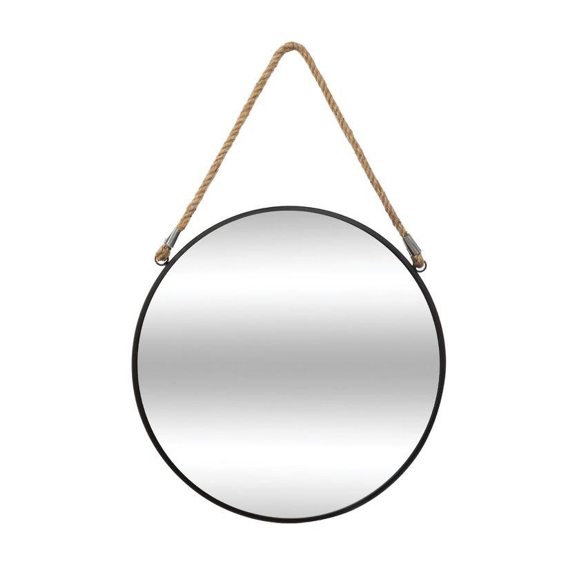 Miroir rond métal noir sur corde