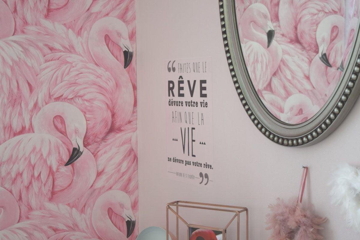 Papier peint papier rose flamant Devon duplex