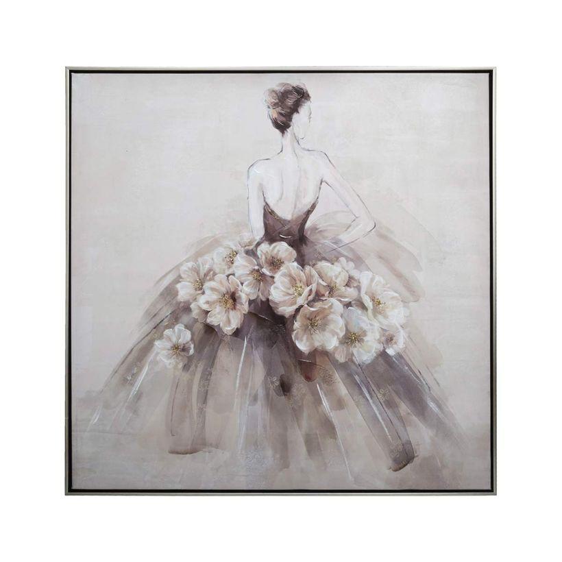 Tableau danseuse rose à fleurs