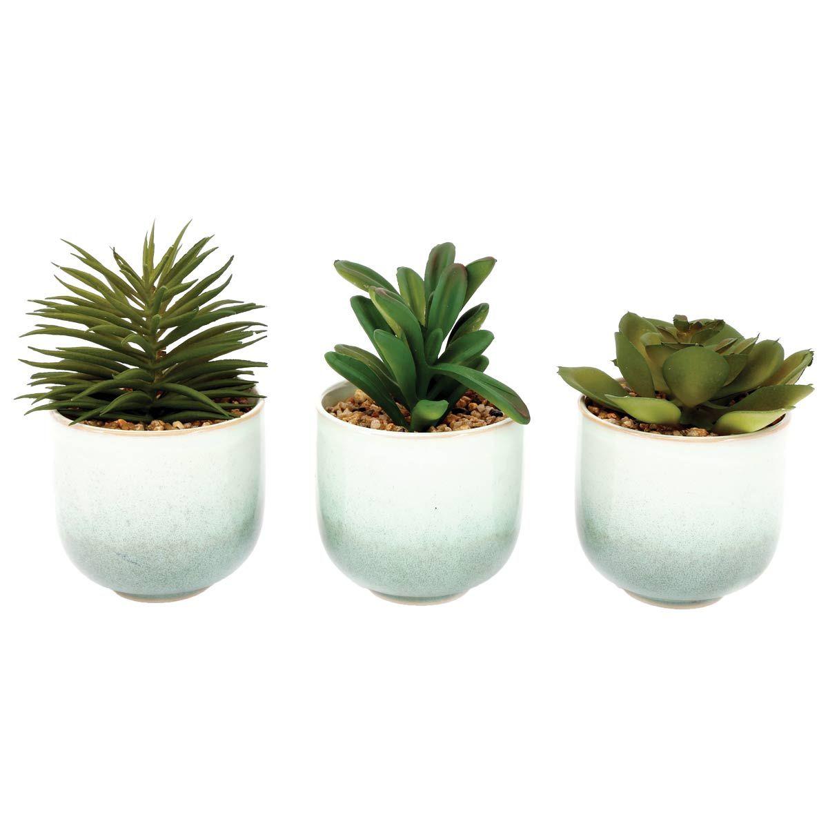 Plante artificielle en pot blanc/vert
