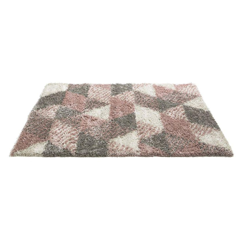Tapis triangles rose dragée Makalu 120x170 cm