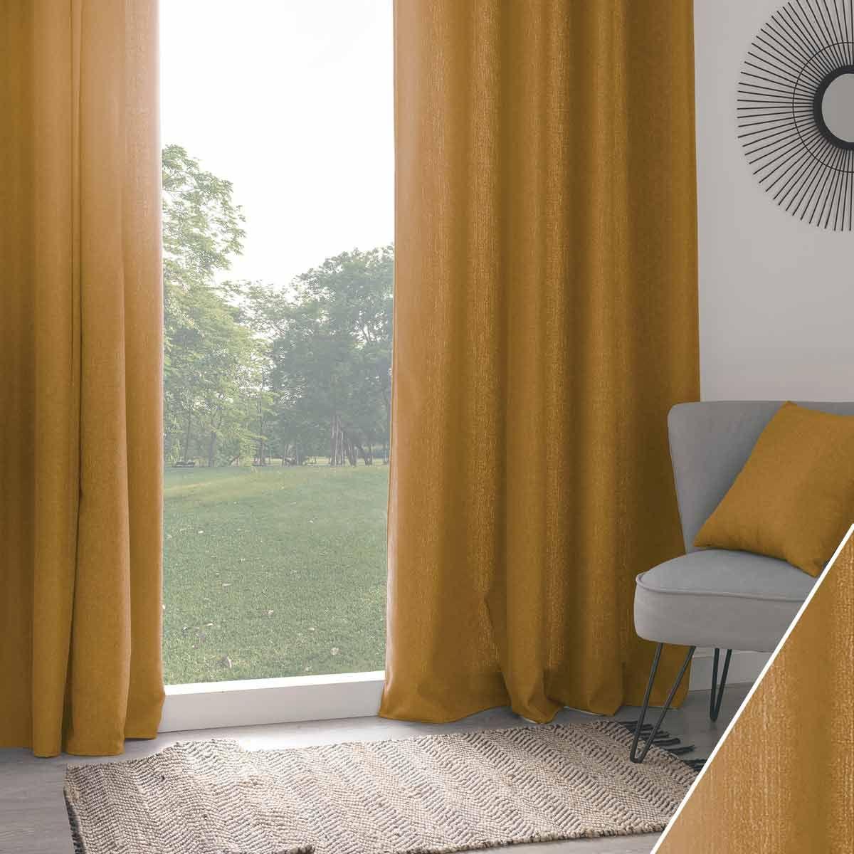 Rideau isolant thermique et phonique jaune moutarde 140x260 cm