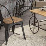 Chaise rétro noir mat assise en bois