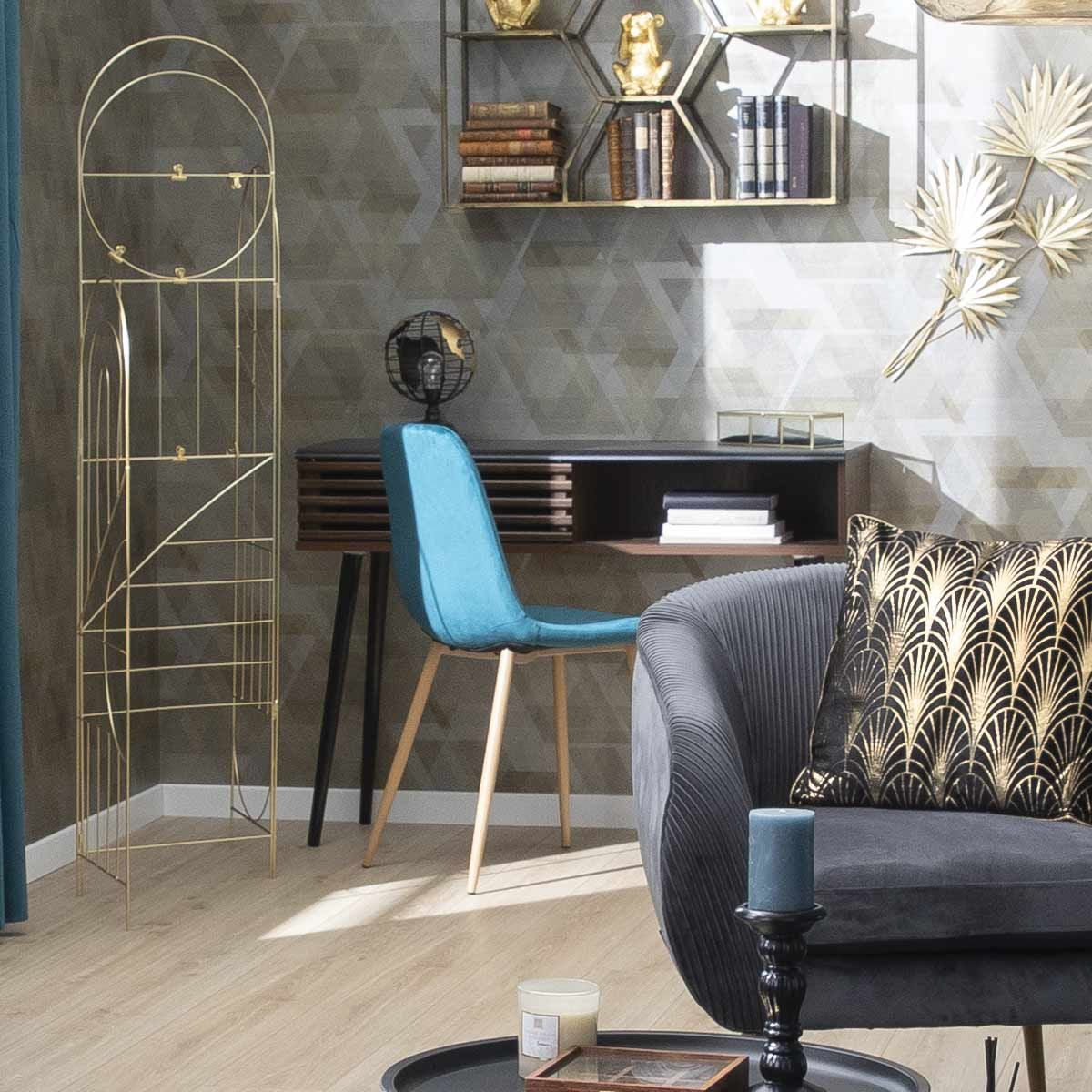 Chaise bleu canard scandinave en velours Roka