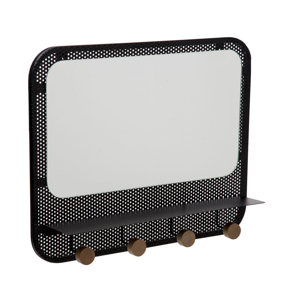 Miroir patère en métal noir