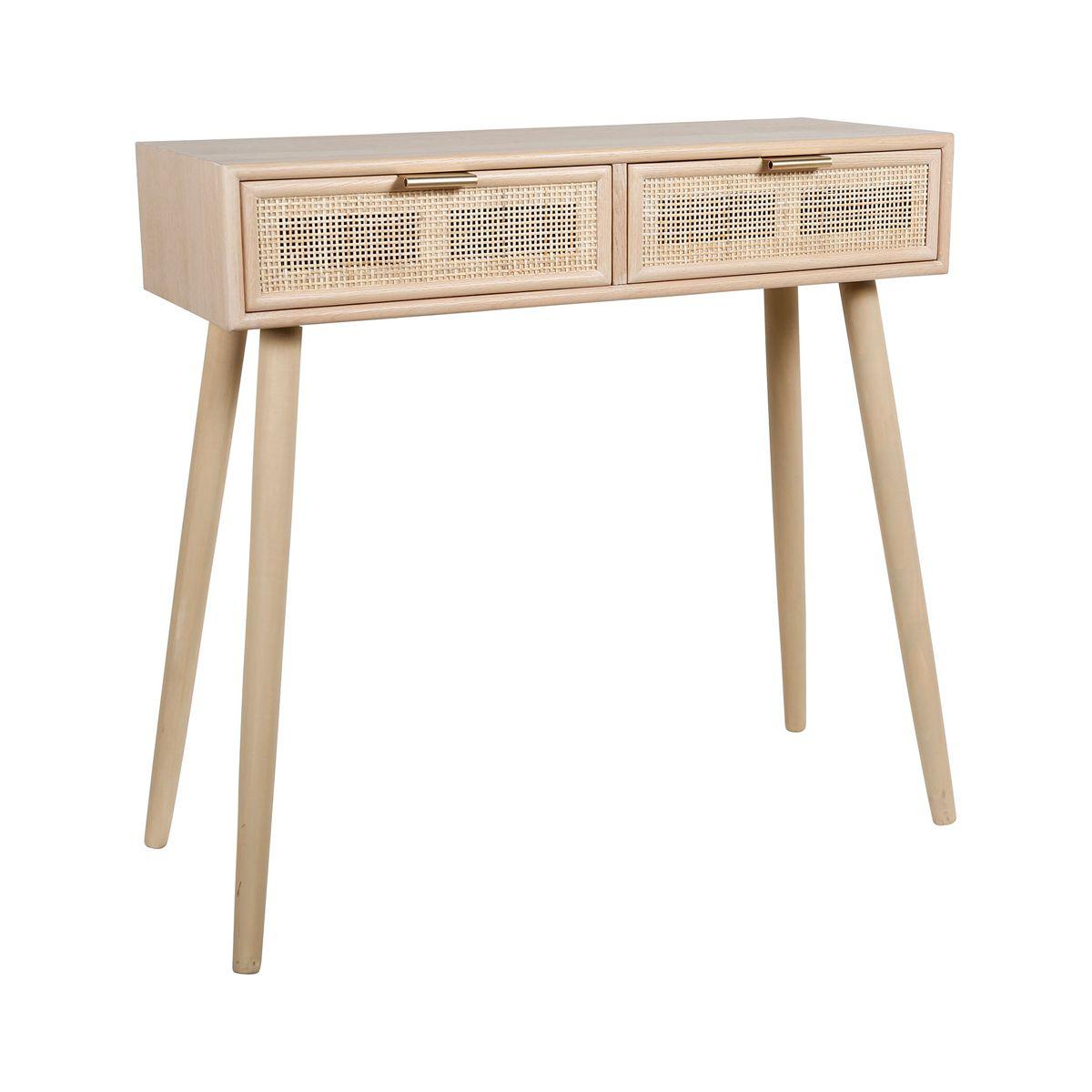 Console bois avec 2 tiroirs tressés en rotin