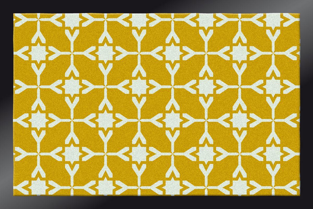 Paillasson carreaux ciment moutarde 40x60 cm