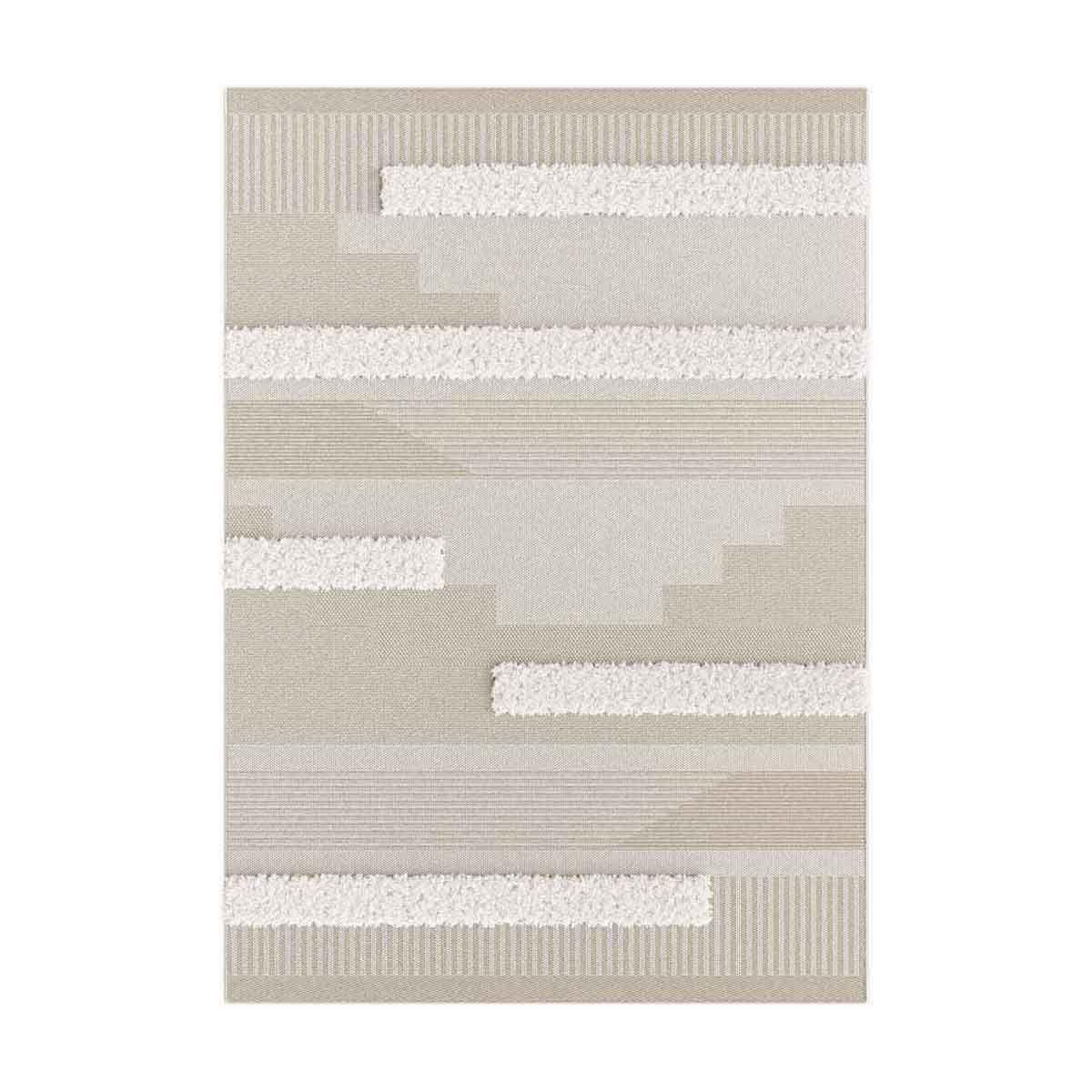 Tapis relief géométrique blanc Dashan