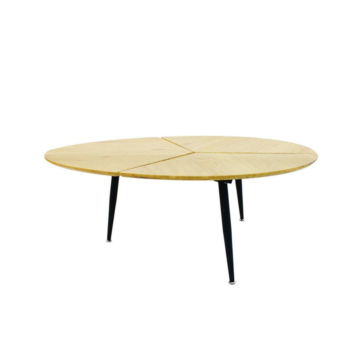 Table basse design ovale en bois et métal