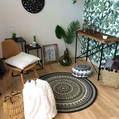 tapis rond ethnique gris orizaba 120 cm kalico. Black Bedroom Furniture Sets. Home Design Ideas
