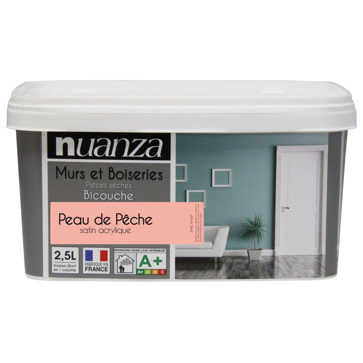 Peinture peau de pêche satin murs et boiseries Nuanza 2.5l
