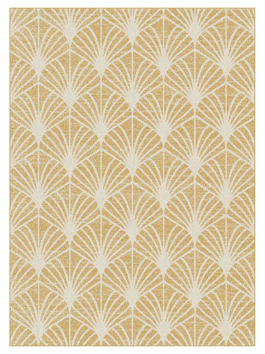 Tapis moderne eventail or Maoke 160x230 cm