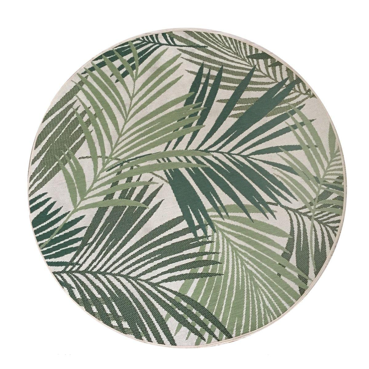 Tapis rond motif palm vert Tropica 120 cm