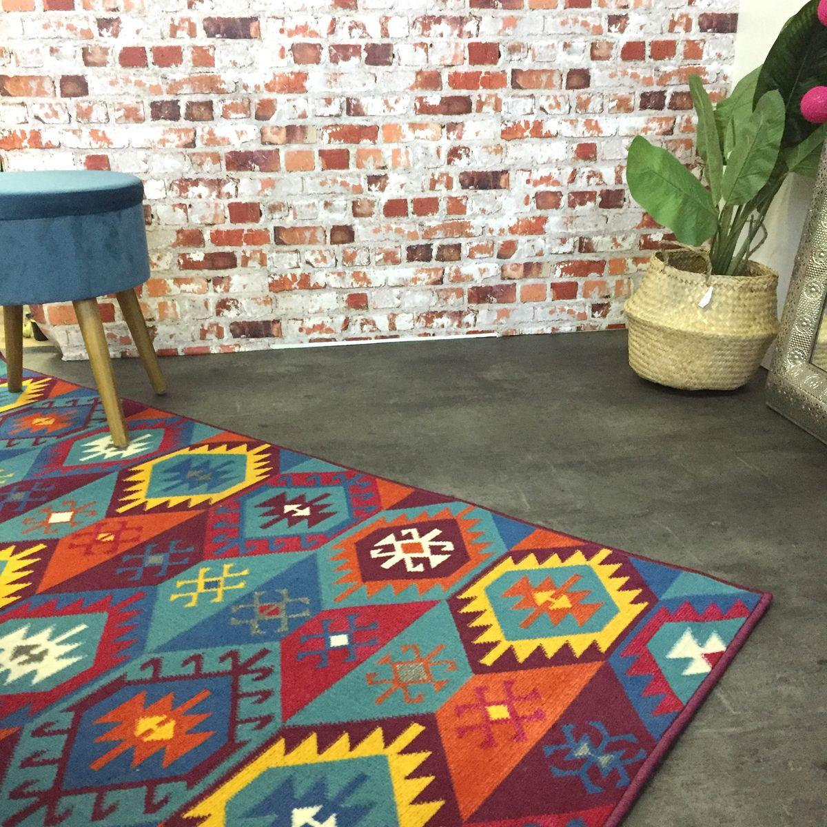 tapis motif ethnique rouge gypsi 120x170 cm kalico. Black Bedroom Furniture Sets. Home Design Ideas