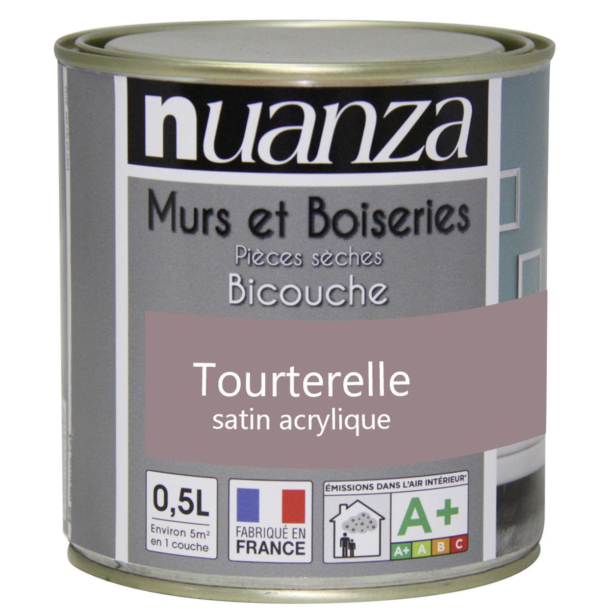 Peinture tourterelle satin murs et boiseries Nuanza 0.5l