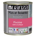 Peinture pivoine satin murs et boiseries Nuanza 0.5l