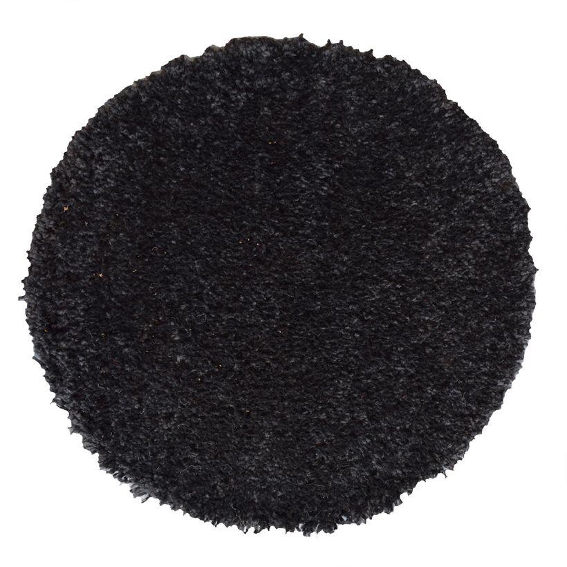 Tapis rond shaggy noir Softy 60 cm