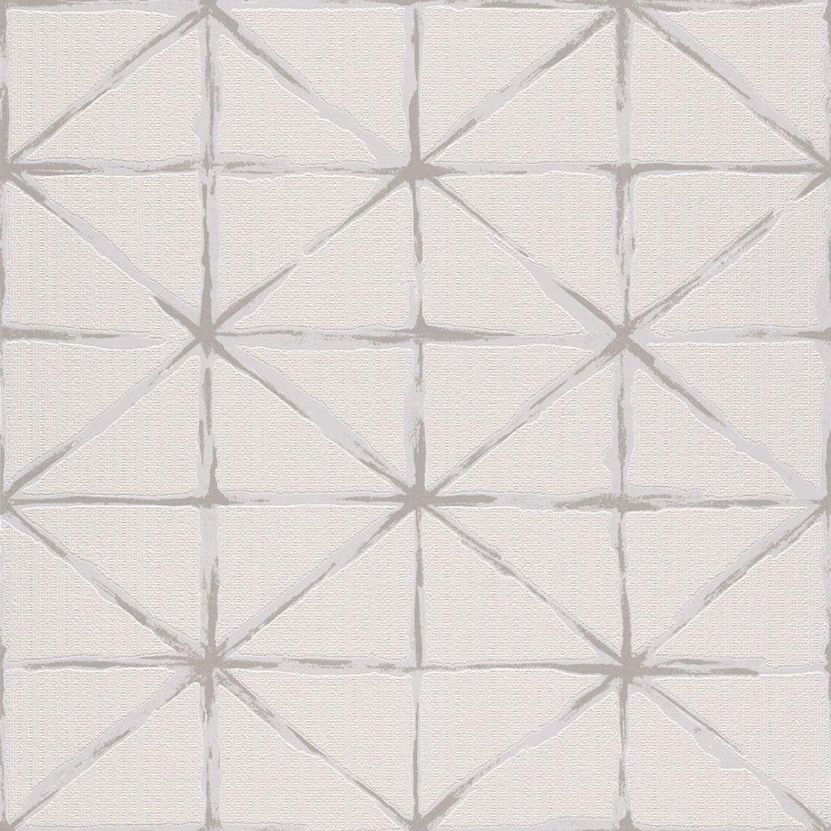 Papier peint vinyl intissé Kells blanc 053cmx10.05m