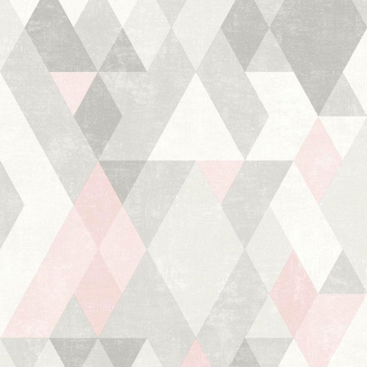 Papier peint vinyl intissé scandinave rose dragée Tothill