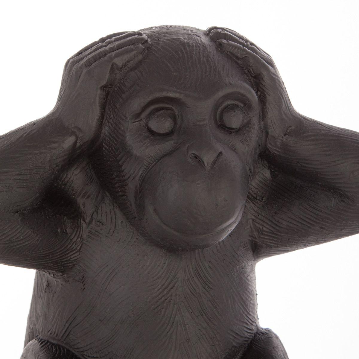 Lot de 3 singes sagesse résine noir
