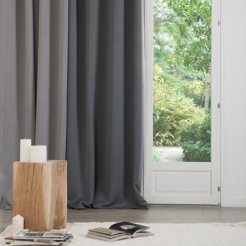 Rideau occultant gris moyen Toledad 140x260 cm