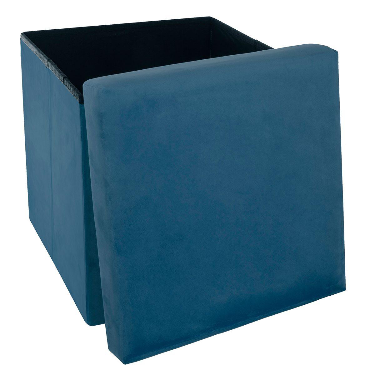 Pouf rangement velours bleu foncé