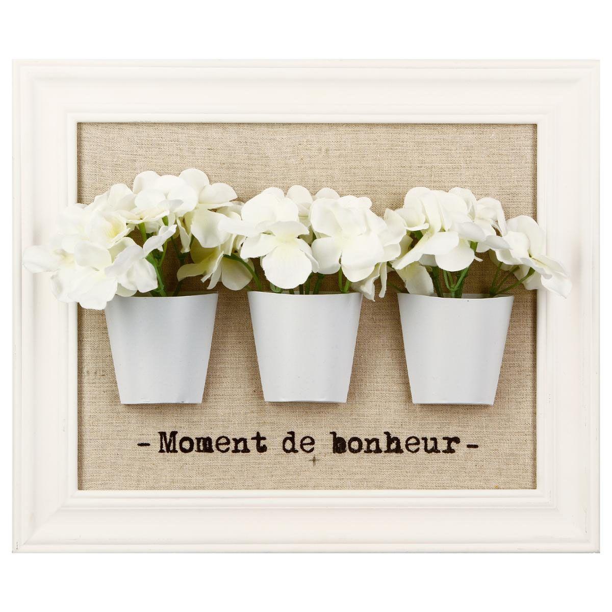 Cadre 3D fleurs blanc ou noir