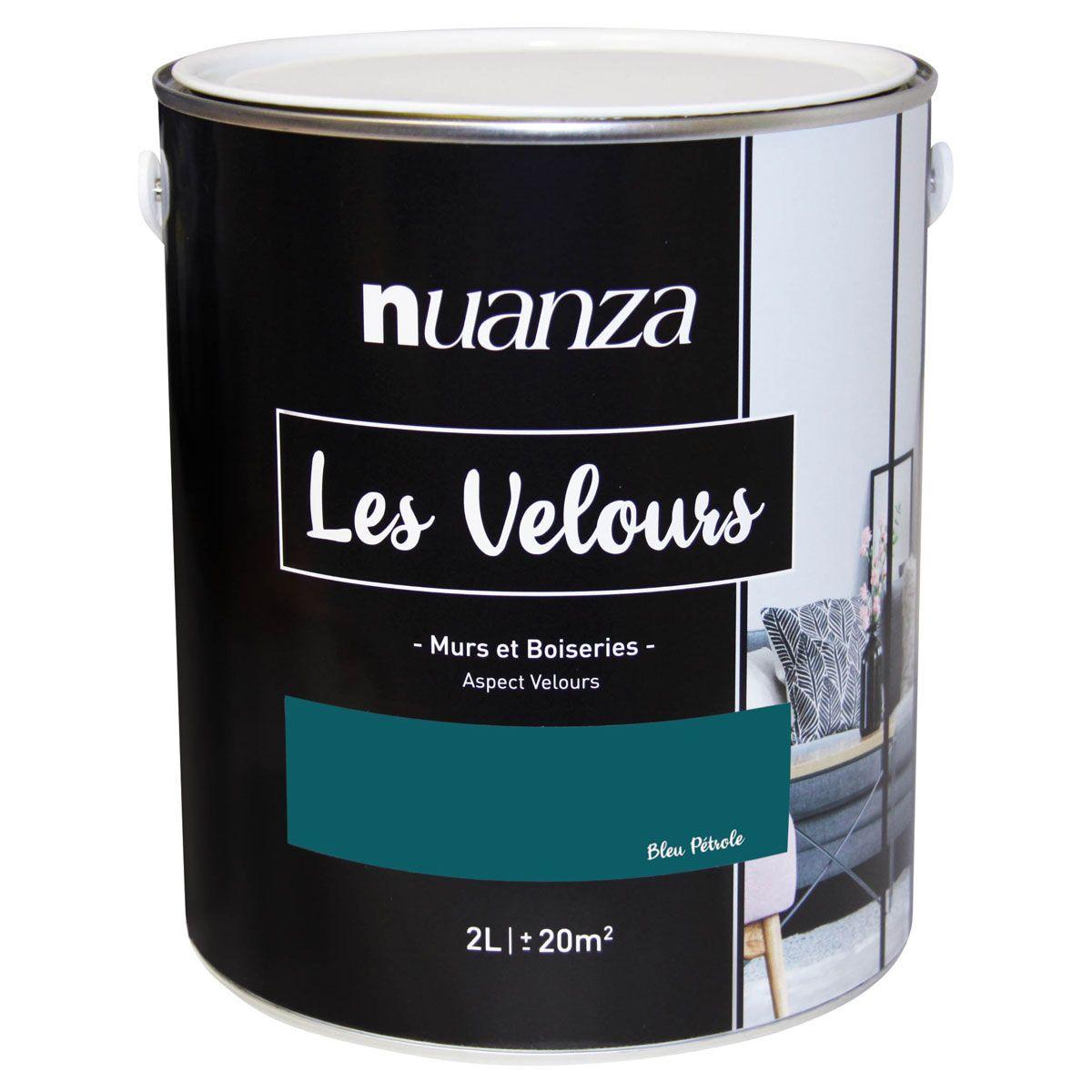Peinture velours monocouche Bleu Pétrol 2l
