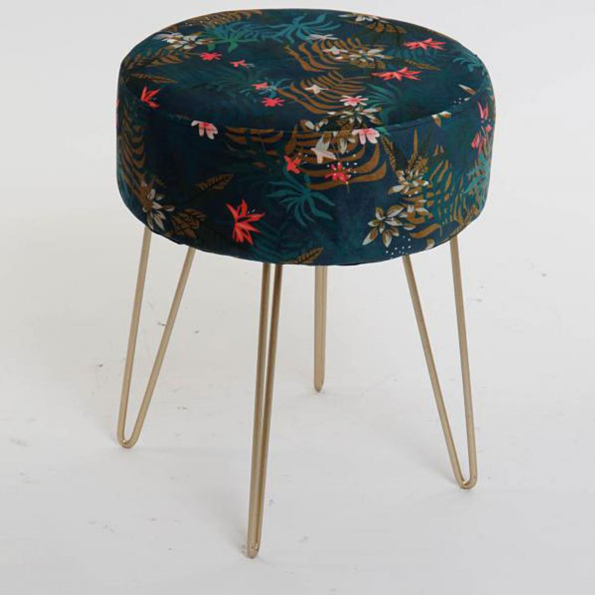 Tabouret velours imprimé tropical
