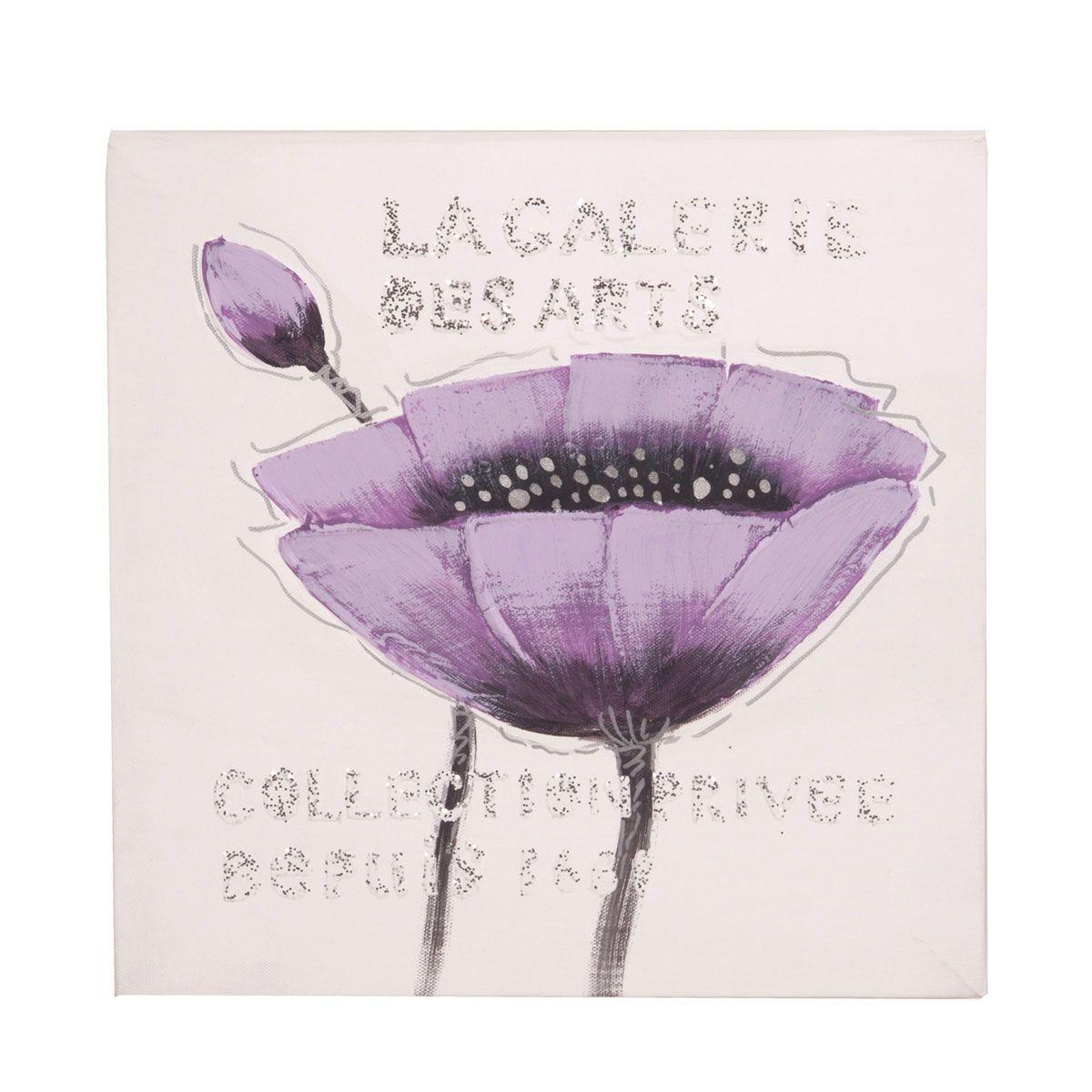 Toile peint main fleur violet
