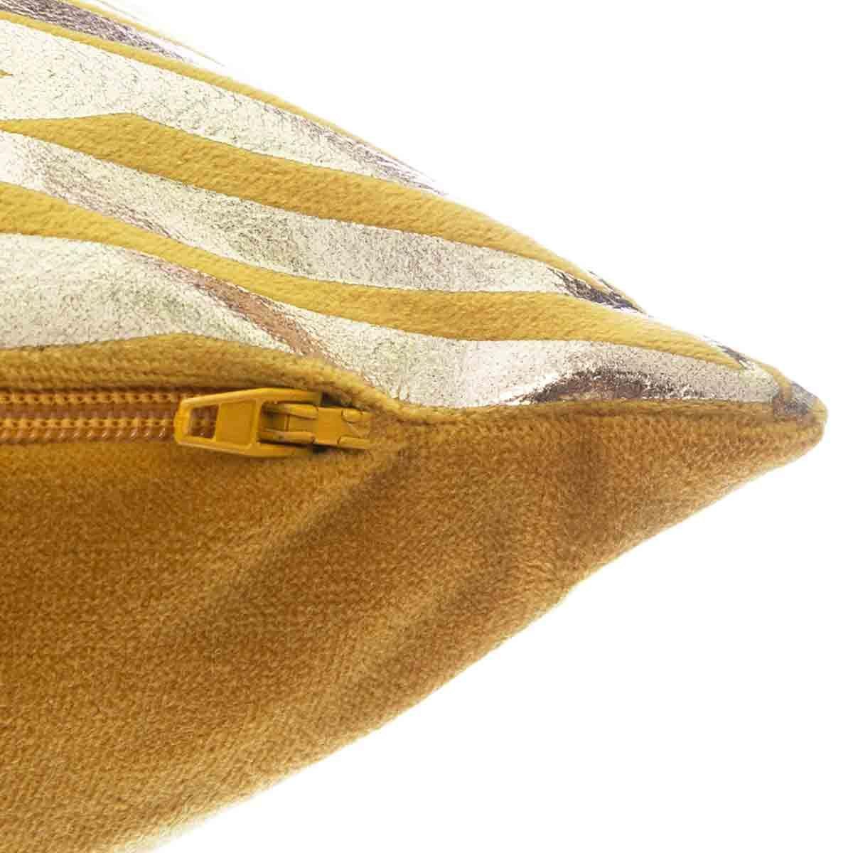 Coussin ocre tropical imprimé doré Ubud  40x40 cm