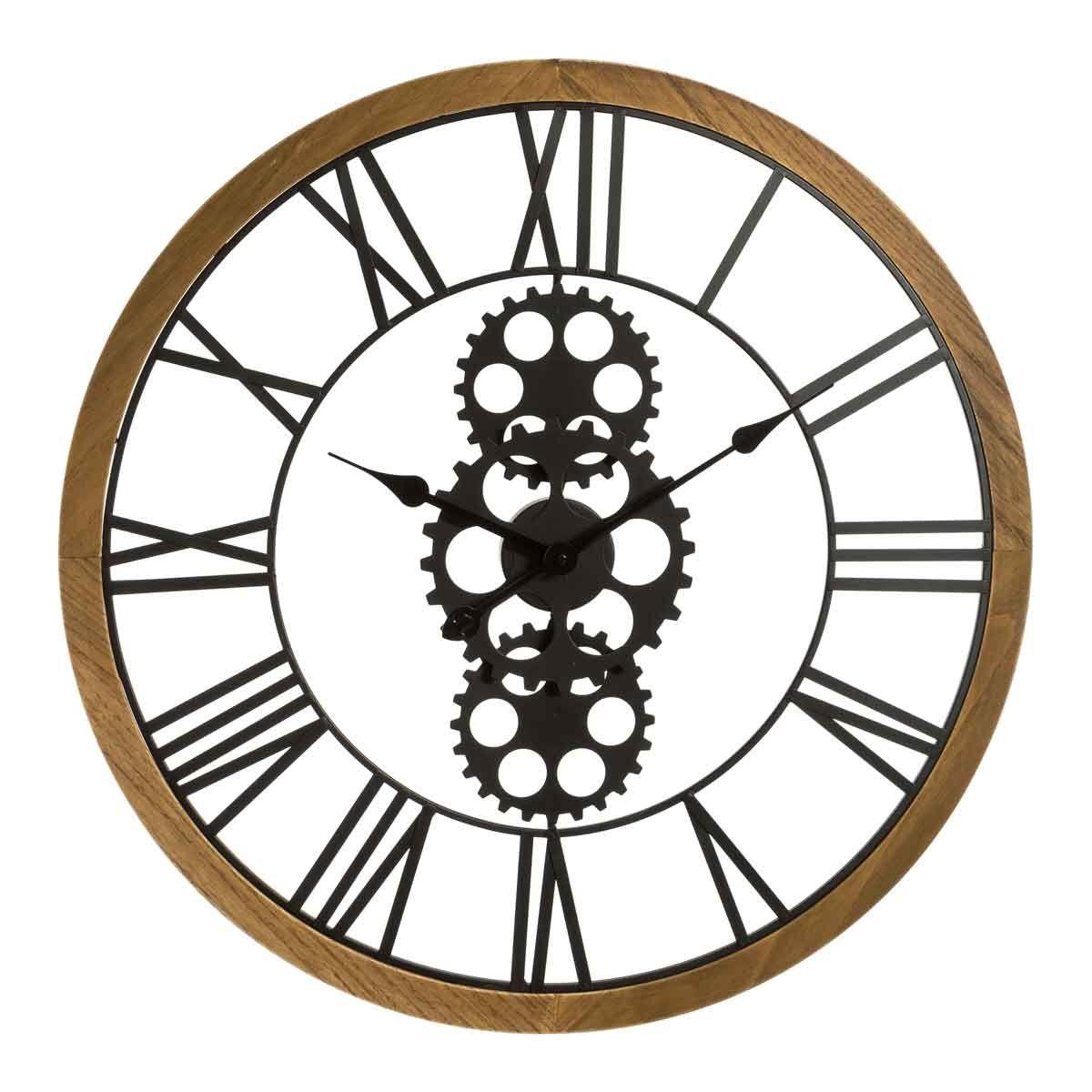 Horloge mécanique en bois et mètal